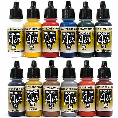 Vallejo Airbrush Farben Set 12x 17ml *Basis - Bunt Airbrushfarben Acrylfarben
