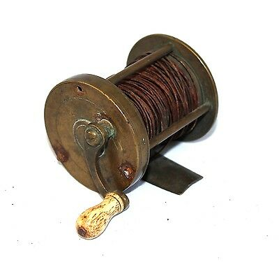 "2"" Early Victorian multiplying fishing winch fishing reel circ 1850  Antique"