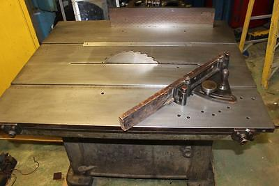 Vintage Tannewitz Model B Dual Arbor Sliding & Tilting Table, Saw Bench
