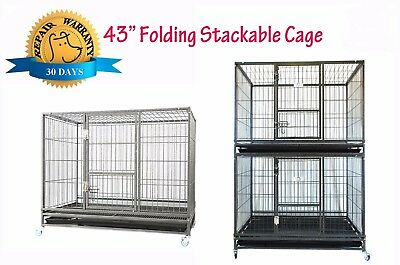 """New Homey Pet 43"""" Stackable Heavy Duty Metal Cat Dog Crate Cage w/ Tray, Wheels"""