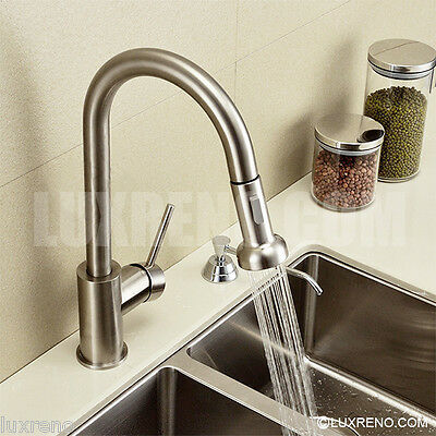 New Brushed Nickel Pull Out Spray Kitchen Faucet Brass Mixer Sink Tap KPF001BN