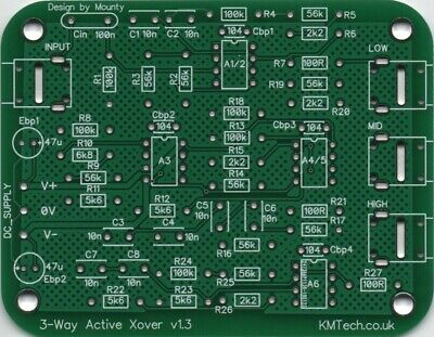 Line-level Active 3-way Crossover Filter NE5532 OPA2134 PCB only DIY Audiophile