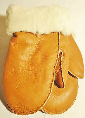 New! Real Sheepskin Shearling Leather Mittens Gloves Mitts Very Warm M