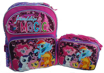 """MY LITTLE PONY Large School Backpack 16"""" with Lunch Insulated Box Combo Set! NEW"""