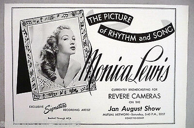 Monica Lewis PRINT AD - 1947-1948 ~~ on the Jan August Show