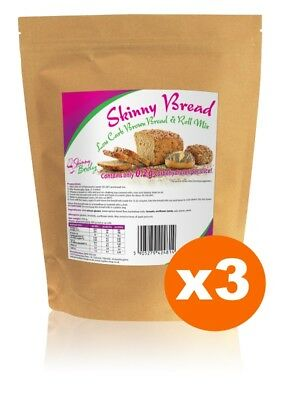 3 Packs of Low Carb Brown Bread & Roll Mix, High Protein, Dukan, Atkins, Low Fat