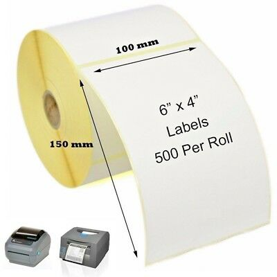 "100 x 150mm Direct Thermal Labels 500 per roll Zebra Toshiba Citizen 4"" x 6"""