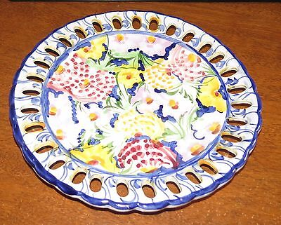 "4 Hand Painted Jay Willfred Andrea by Sadek Reticulated 9"" Wall Plates Portugal"