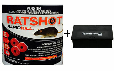 Ratshot RapidKill (Rat) Mouse Rodent Poison Bait Blocks 1 Feed 250g+ Bait Statio