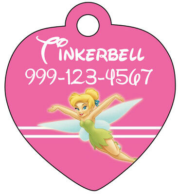 Disney Princess Tinkerbell Pet Id Tag for Dogs/Cats Personalized w/ Name, Number
