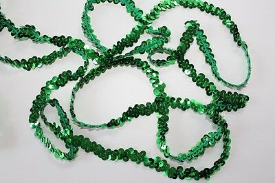Dance Costume Elastic Sequin Trim - 1 Row Stretch Green 1 Metre