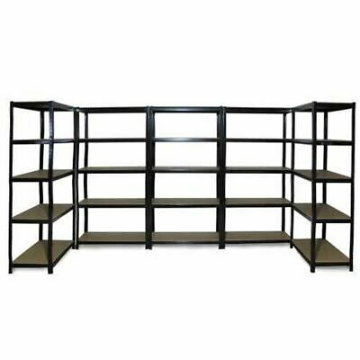 5x 0.9M Black Steel Warehouse Racking Rack Storage Garage Shelving Shelf Shelves