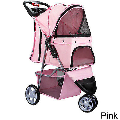 NEW Pink 3 Wheel Pet Stroller Dog Cat Safe Mesh Windows Zippered Entry Storage