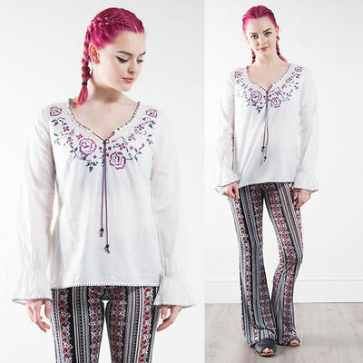 Retro Esprit Floral Embroidered Hippie Blouse Boho Gypsy Summer Festival 10