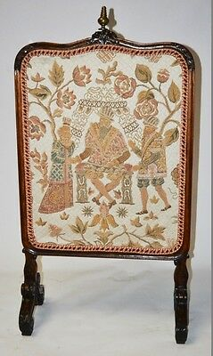 Antique Victorian Carved Oak Tapestry Fire Screen - FREE P&P [PL2229]