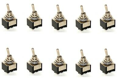 10 DPST ON/OFF Miniature Toggle Switches Two Pole SIngle Throw