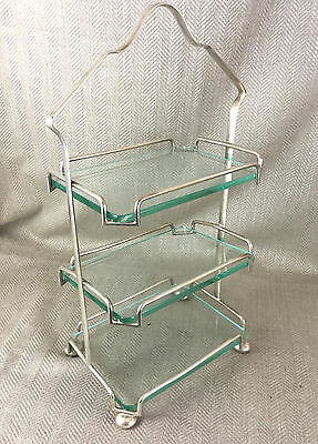 Vintage 3 Tier Cake Stand Art Deco Silver Plated Tiered Plate Table Serving Vtg