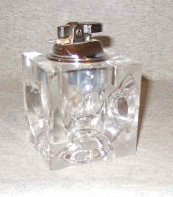Vintage (1960s) table cigarette lighter~glass cube