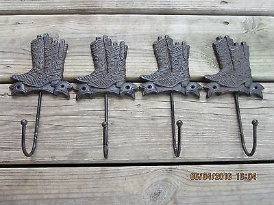 Rustic / Western Cowboy Boots Coat Hat Robe Hook Set Of 4