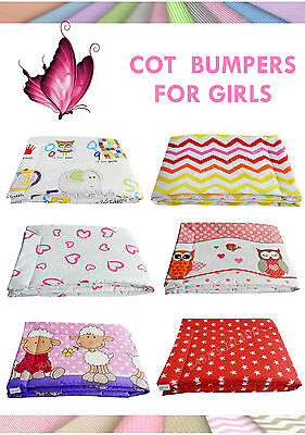Standard Bumper to Fit Cot 60x120 cm - Girls Patterns, Breathable Anti-Allergy