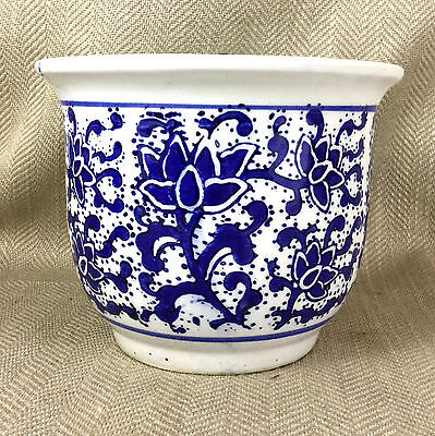 Vintage Chinese Planter Plant Pot Jardiniere Hand Painted Blue & White Pottery