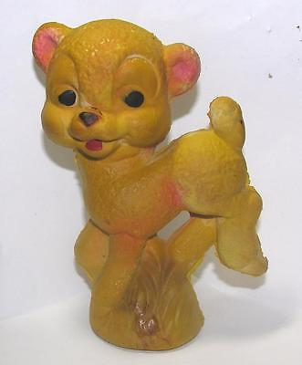 Vtg 1930's Fragile, Molded Rubber Baby Squeaky Yellow Easter Lamb Toy, Works
