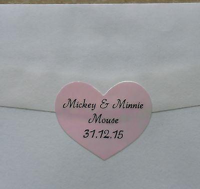 42 Pink Rainbow Heart Shape Personalised Name Stickers Vinyl Tag / Label wedding