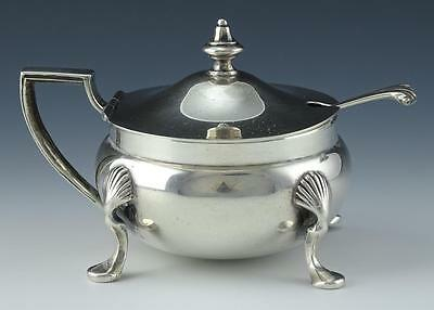 Vintage 925 Georg Jensen Sterling Silver Mustard Pot With Matching Spoon (salt?)
