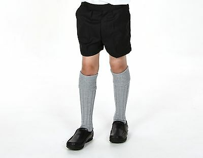 Boys Wool Mix Grey School Shorts Half Elastic Fully Lined 22 24 26 28 Inch Waist