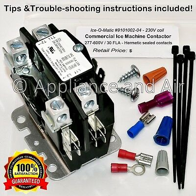 9101002-04 Ice-O-Matic Contactor 230V 30A FAST - FREE shipping + Instructions