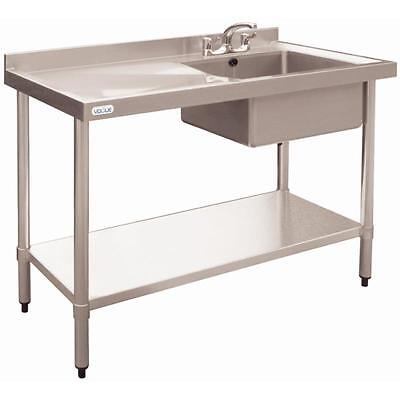 Vogue Stainless Steel Single Bowl Sink Left Hand Drainer Commerc 900x1200x600mm