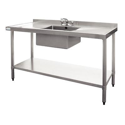 Vogue Stainless Steel Single Bowl Sink Double Drainer Commercial 900x1500x600mm