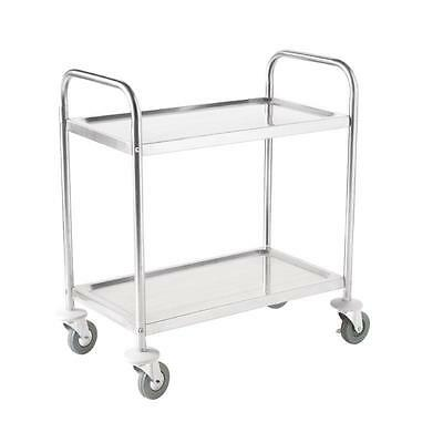 Stainless Steel 2 Tier Clearing Trolley Small Restaurant Cafe 810 x 710 x 405mm