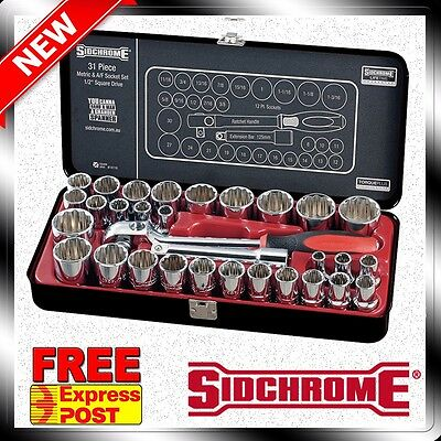 "Sidchrome 1/2"" Drive Socket Set AF/Metric 31 Piece - Limited Edition Black Set"