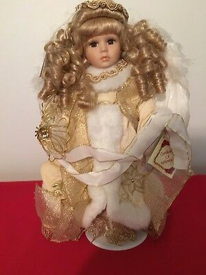 """New Fine Bisque Porcelain Doll Angel 14"""" Feather Wings Butterfly Fur Trim"""