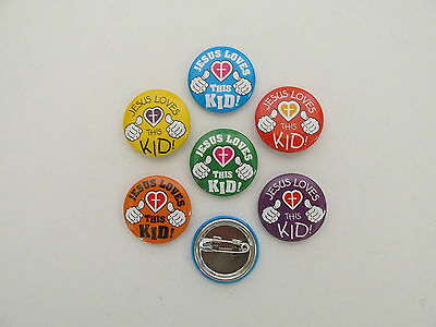 48 JESUS LOVES THIS KID mini button PINS religious Christmas FREE S/H favors