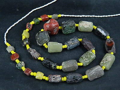 Ancient Fragment Glass Beads Strand Roman 200 BC  #BE1383
