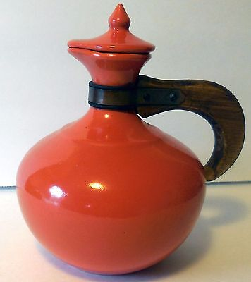 c1930 Bauer carafe Coffee Server with lid wood handle Red Orange plainware Fine