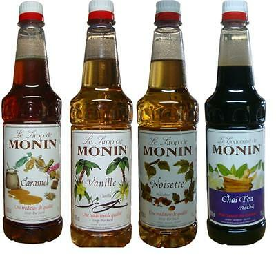 6 x Monin Syrup 1Lt PET Bottle Caramel,Vanilla,Hazelnut or Chai -Bar Coffee Home