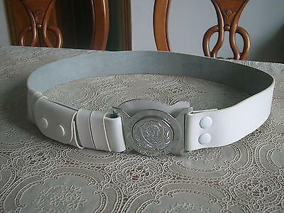 99's series China Police Cattle Leather Belt,White.