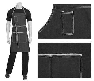 Chef Cook Waiter Chef Works Bronx Black Denim Bib Apron w/pockets BRAND NEW