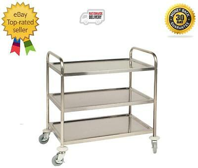 Stainless Steel 3 Tier Clearing Trolley Small Restaurant Cafe 825 x 710 x 405mm
