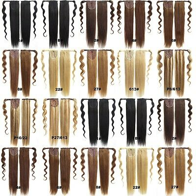 """20"""" Clip In Wrap Around Ponytail 100% Remy Thick Straight Human Hair Extensions"""