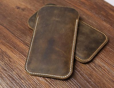 Distressed Genuine Brown leather iphone 6 case sleeve pouch iphone 6 plus case