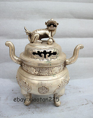 Chinese White Copper Silver propitious lion incense burner Censer W3612