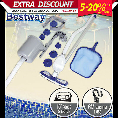 NEW Bestway Swimming Pool Deluxe Maintenance Kit with Skimmer Box & Pool Vacuum