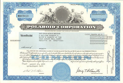 Polaroid Corporation   instant camera film collectible stock certificate