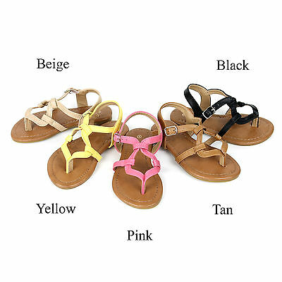 1d995eb554e8 New Girls T Strap Thong Gladiator Strappy Flat Flip Flops Kids Sandals