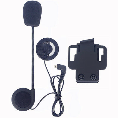 Stereo Headset Boom Mic+Clip for 500m FDC Bluetooth Motocycle Helmet Intercom BT