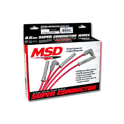MSD Ignition Red Super Conductor Bujía 4 Cilindro Midget Wire Set, PN: 31689